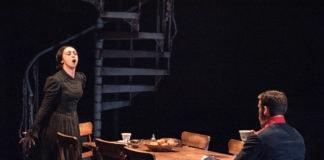 Natascia Diaz (Fosca) and Claybourne Elder (Giorgio) in Passion at Signature Theatre. Photo by Margot Schulman.