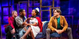 L-R: Mary Myers, Billie Krishawn, Lilian Oben, and Christian Montgomery in Constellation Theatre's production of Melancholy Play: A Contemporary Farce.