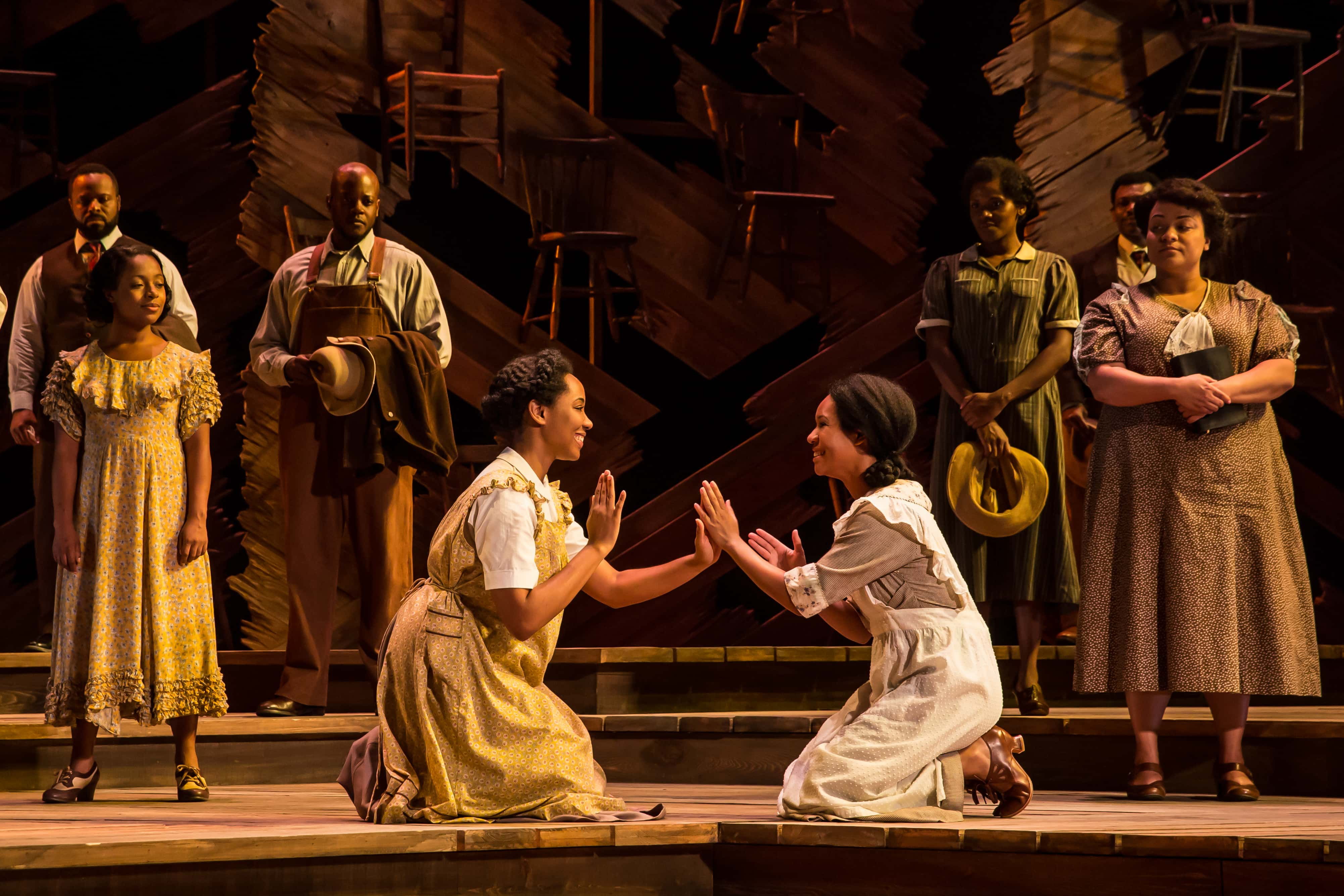Adrianna Hicks (Celie), N'Jameh Camara (Nettie) and the North American tour cast of The Color Purple. Photo by Matthew Murphy.