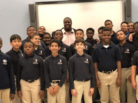 Joshua Conyers with students at the Newark Boys Chorus School. Photo courtesy of Joshua Conyers.