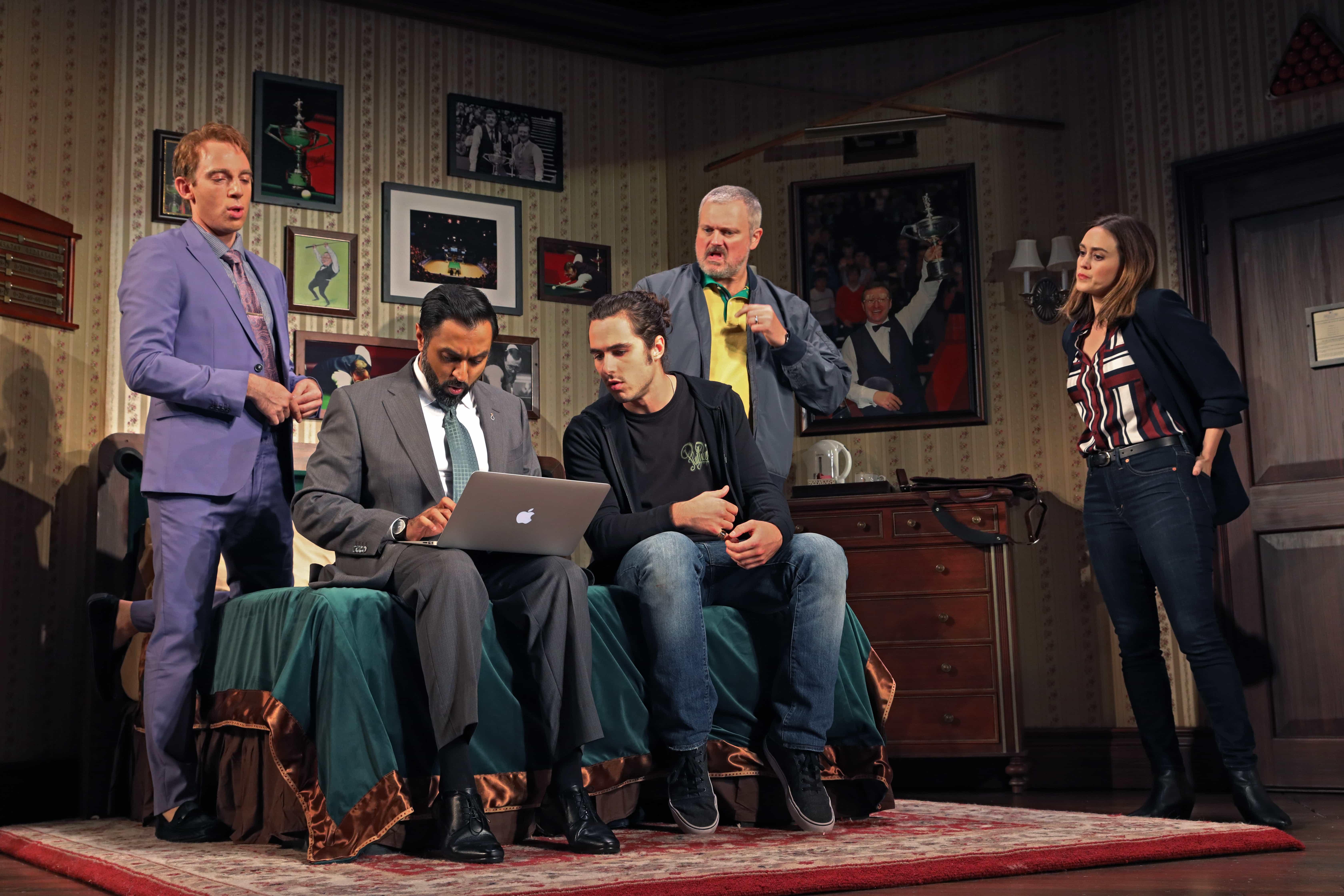 Max Gordon Moore, Bhavesh Patel, Ben Schnetzer, John Ellison Conlee, and Heather Lind. Photo by Joan Marcus.