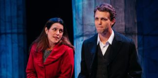 Susan Marie Rhea as Carla and Brandon McCoy as Francis in Lincolnesque, now playing at the Keegan Theatre. Photo by Cameron Whitman Photography.
