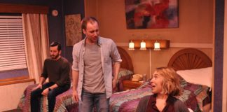 L-R: Joe Waeyaert, Mike Rudden, and Brianna Goode in Tape, now playing at Dominion Stage. Photo by Matthew Randall.