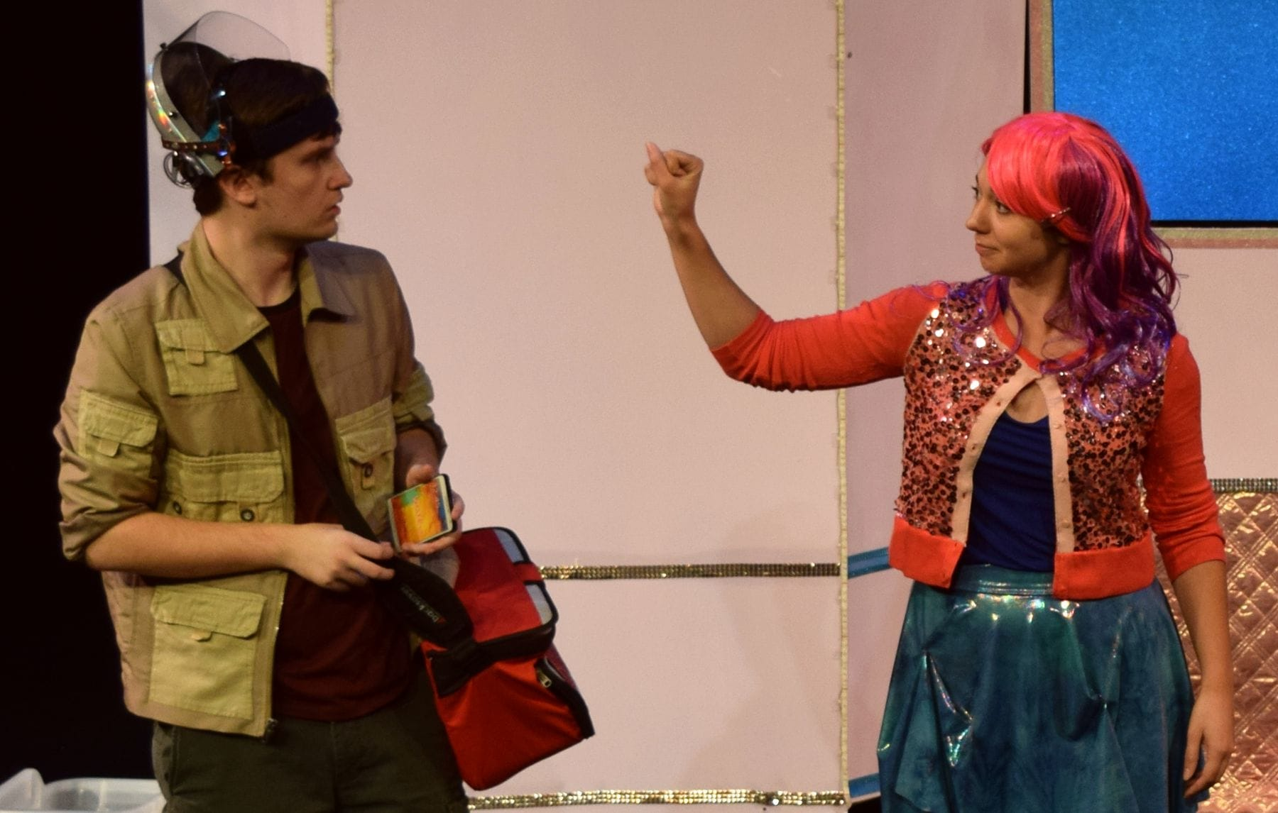 James Morogiello as Klipp Casey and Kelsey Yudice as Ineka Bradley in Voytto Tech. Photo by Steve Wolf.