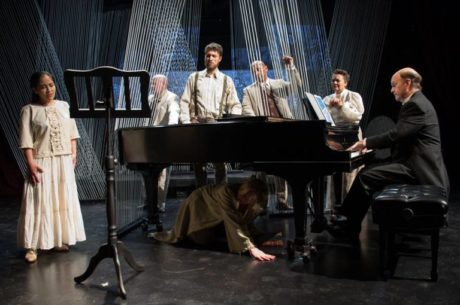 Nanna Ingvarsson (below the piano) and the company of Viva V.E.R.D.I. at The In Series. Photo courtesy of The In Series.