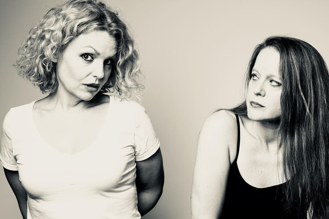 Tonya Beckman (Susie) and Esther Williamson (Jude) in Pramkicker, now playing at Taffety Punk Theatre Company. Photo by Teresa Castracane.