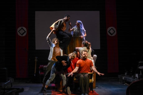 The cast of 'Putin on Ice (that isn't the title of this show).' Photo courtesy of Single Carrot Theatre.