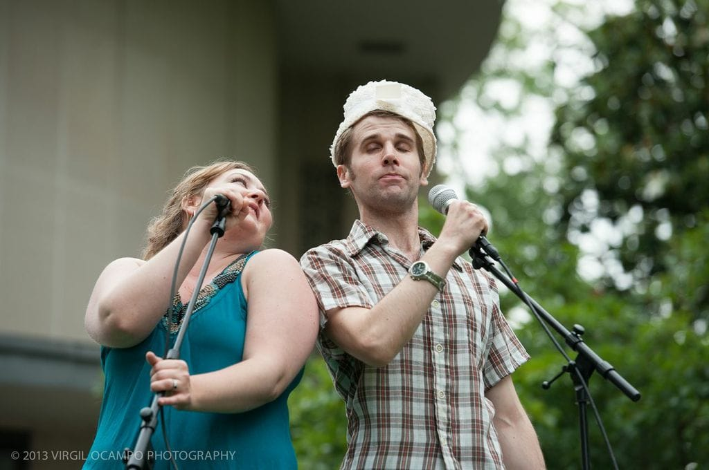 Tracy Olivera and Evan Casey perform at a past Beltway Barks event.