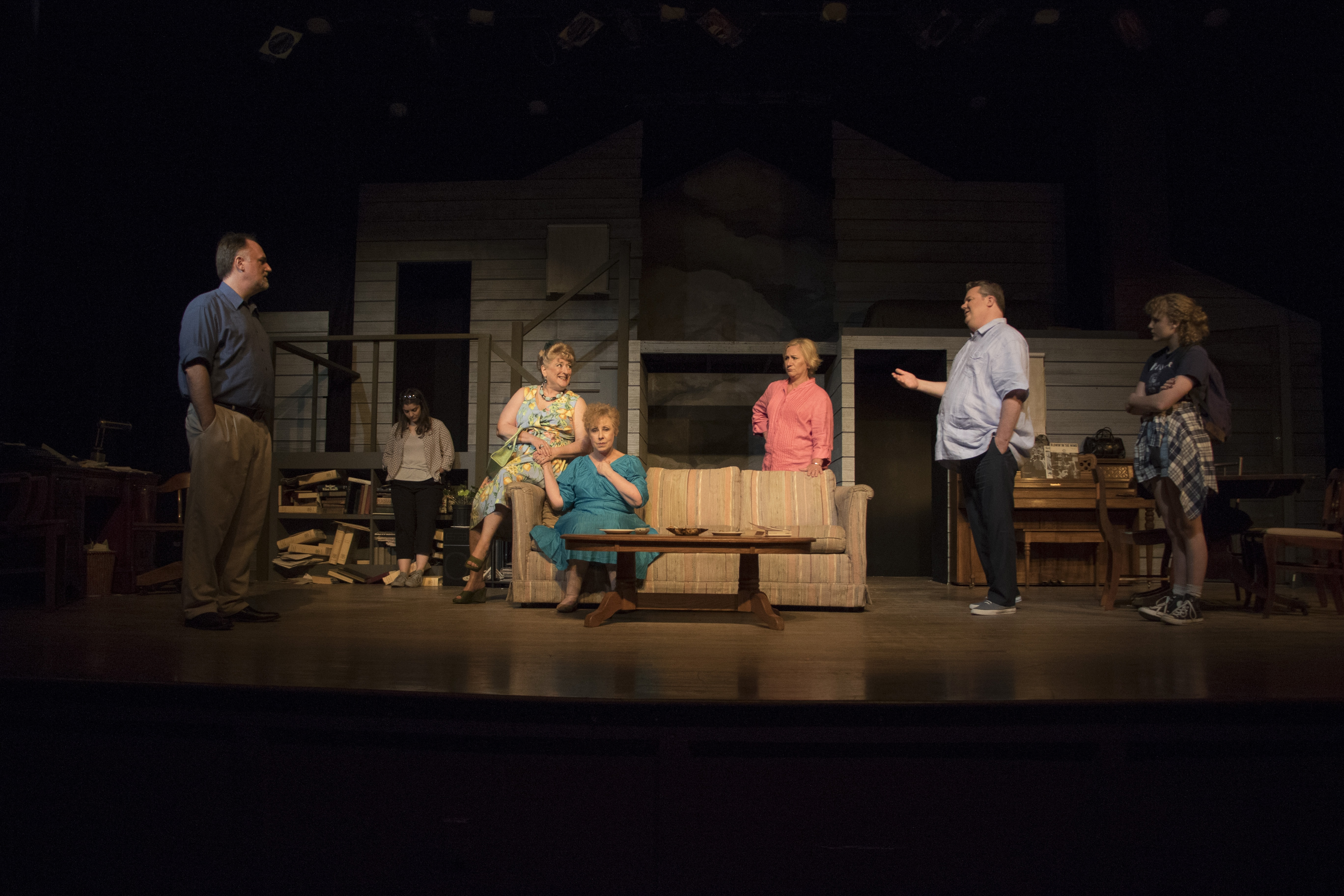 L-R: Michael Fisher, Carlotta Capuano, Gayle Nichols-Grimes, Diane Sams, Nicky McDonnell, Tom Flatt, and Camille Neumann in August: Osage County, now playing at the Little Theatre of Alexandria. Photo by Matt Liptak.