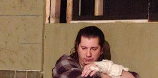 Daniel Johnston as Billy Bibbitt in One Flew Over the Cuckoo's Nest, now playing at Laurel Mill Playhouse. Photo courtesy of Maureen Rogers.