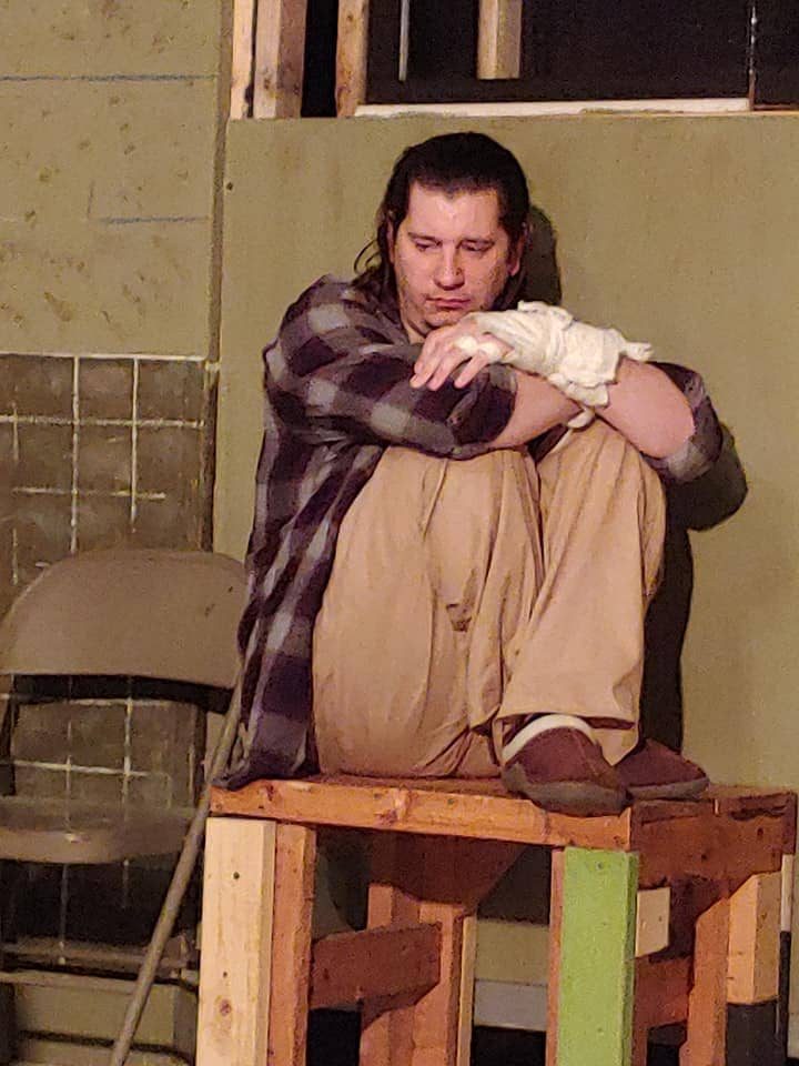 Daniel Johnston as Billy Bibbitt in One Flew Over the Cuckoo's Nest, now playing at Laurel Mill Playhouse. Photo by Marge McGugan.
