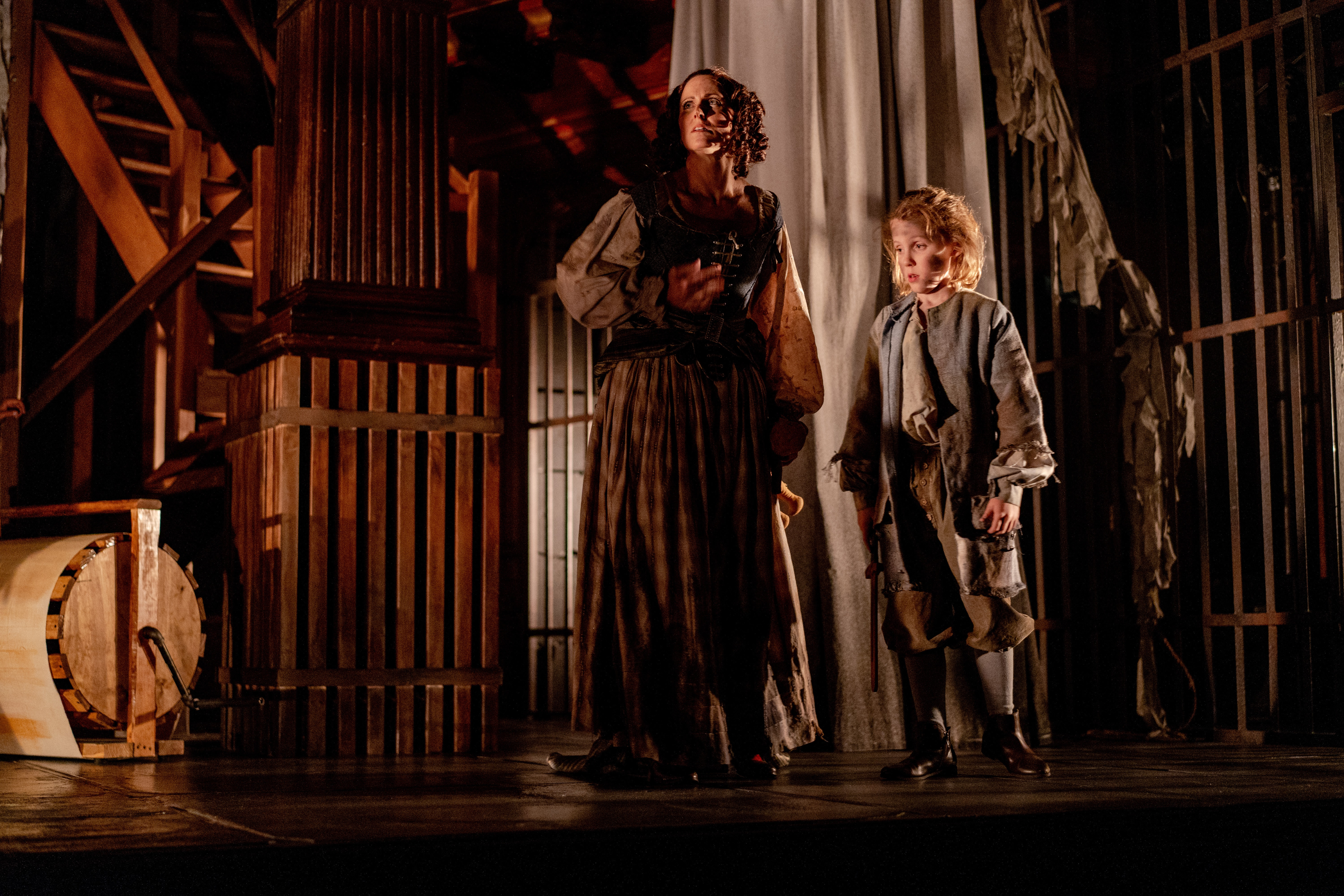Lady Macduff (Karen Peakes) and Fleance (Owen Peakes) find themselves in Bedlam asylum in Folger Theatre's Macbeth. On stage September 4–23, 2018. Photo by Brittany Diliberto.