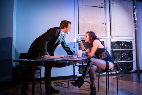 Scott Ward Abernethy as Thomas and Anna DiGiovanni as Vanda in Venus in Fur, now playing at 4615 Theatre Company. Photo by Ryan Maxwell Photography.