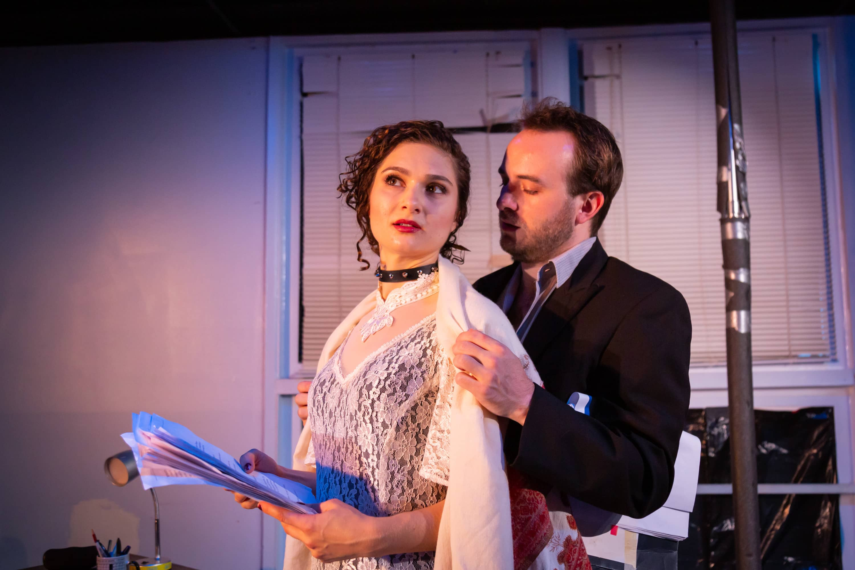 Anna DiGiovanni as Vanda and Scott Ward Abernethy as Thomas in Venus in Fur, now playing at 4615 Theatre Company. Photo by Ryan Maxwell Photography.