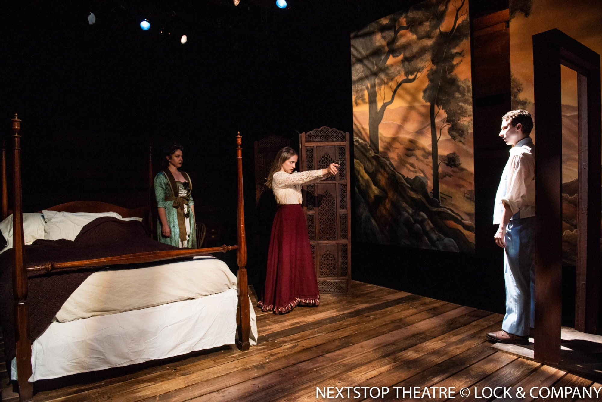 """Kari Ginsburg, Annie Ottati and John Sygar in John Steinbeck's """"East of Eden"""" at NextStop Theatre Company. Photo by Lock and Company."""