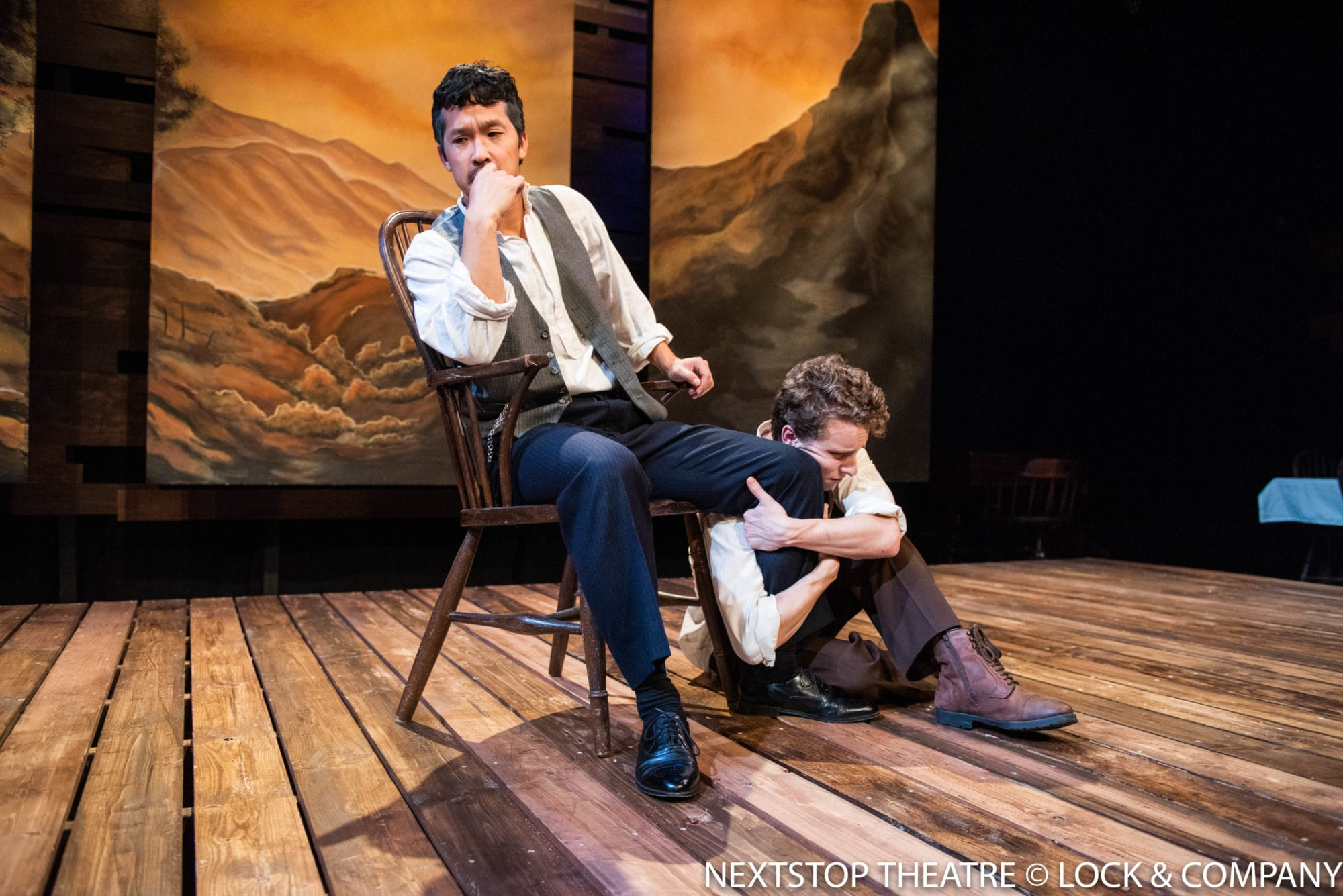 """Jacob Yeh and John Sygar in John Steinbeck's """"East of Eden"""" at NextStop Theatre Company. Photo by Lock and Company."""