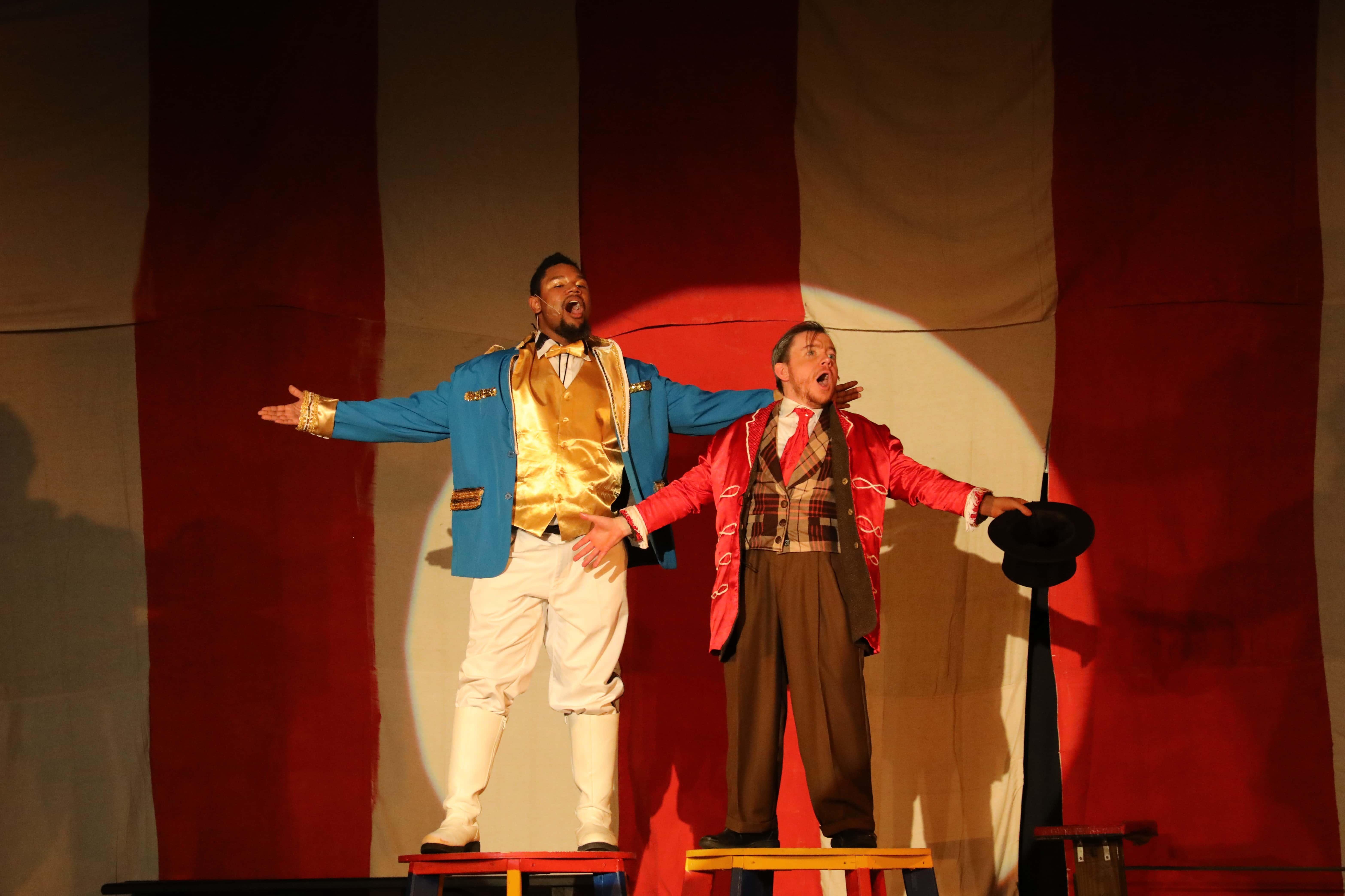 James Doggett (left) as Bailey and Matt Wetzel (right) as Barnum. Photo by Shealyn Jae Photography