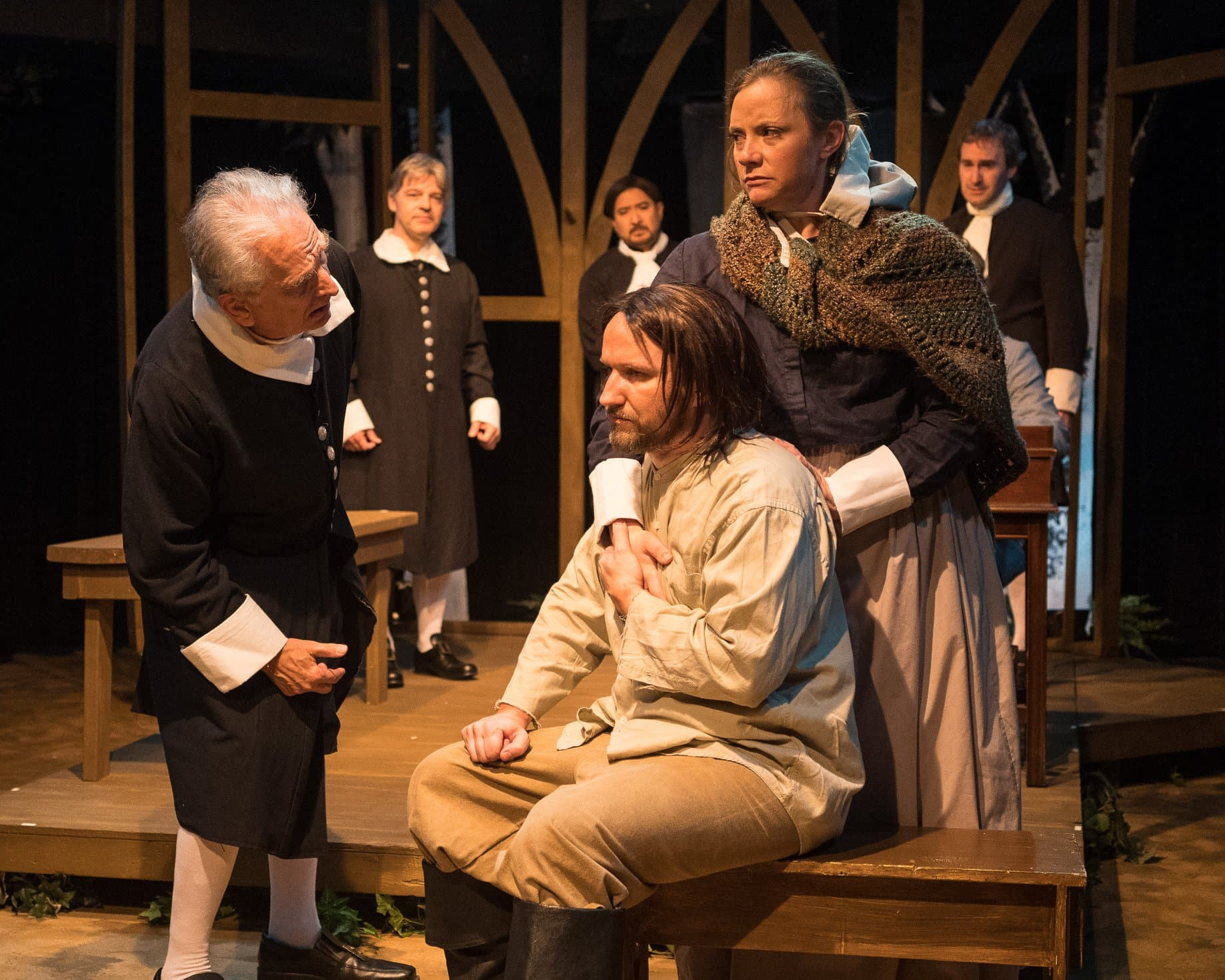 The cast of The Crucible, now playing at Silver Spring Stage. Photo by Harvey Levine.