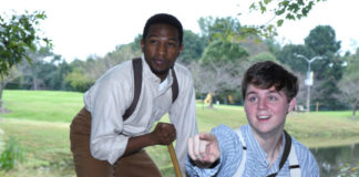 Garvey Dobbins (Jim) and Jeffrey Samuel Trent, Jr. (Huck) in Big River at George Mason University. Photo credit: R Kelberg.