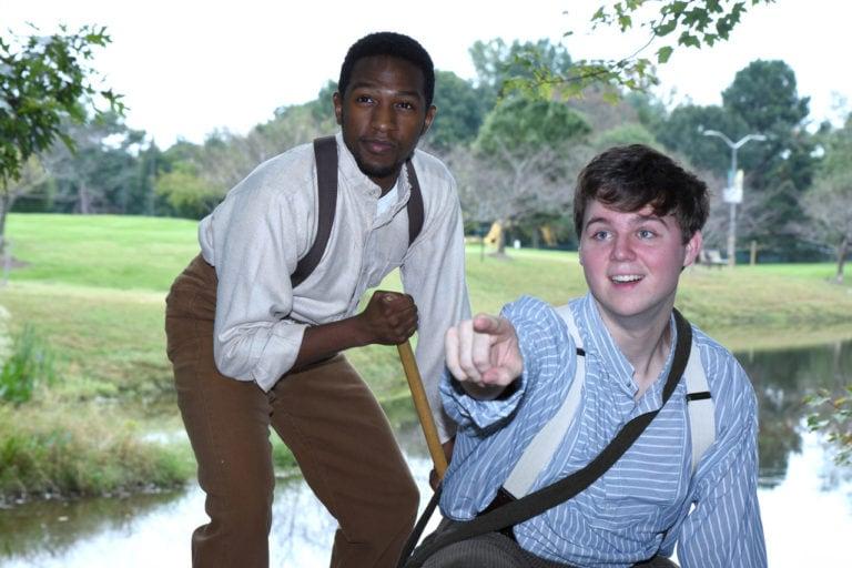 Garvey Dobbins (Jim) and Jeffrey Samuel Trent, Jr. (Huck) in Big River at George Mason University. Photo credit: R Kelberg.