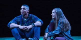 Jaysen Wright and Sylvia Kates in Theater J's Actually, now playing at Arena Stage. Photo courtesy of Theater J.
