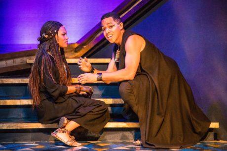 Shayla S. Simmons (Aida), and Jobari Parker-Namdar (Radames) in Aida, now playing at Constellation Theatre. Photo by DJ Corey Photography.