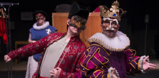 L-R: Casey Johnson-Pasqua, Ben Lauer, and Jesse Terrill in Faction of Fools' production of Shakespeare's Henry V, now playing at Gallaudet University's Elstad Auditorium. Photo by C. Stanley Photography.