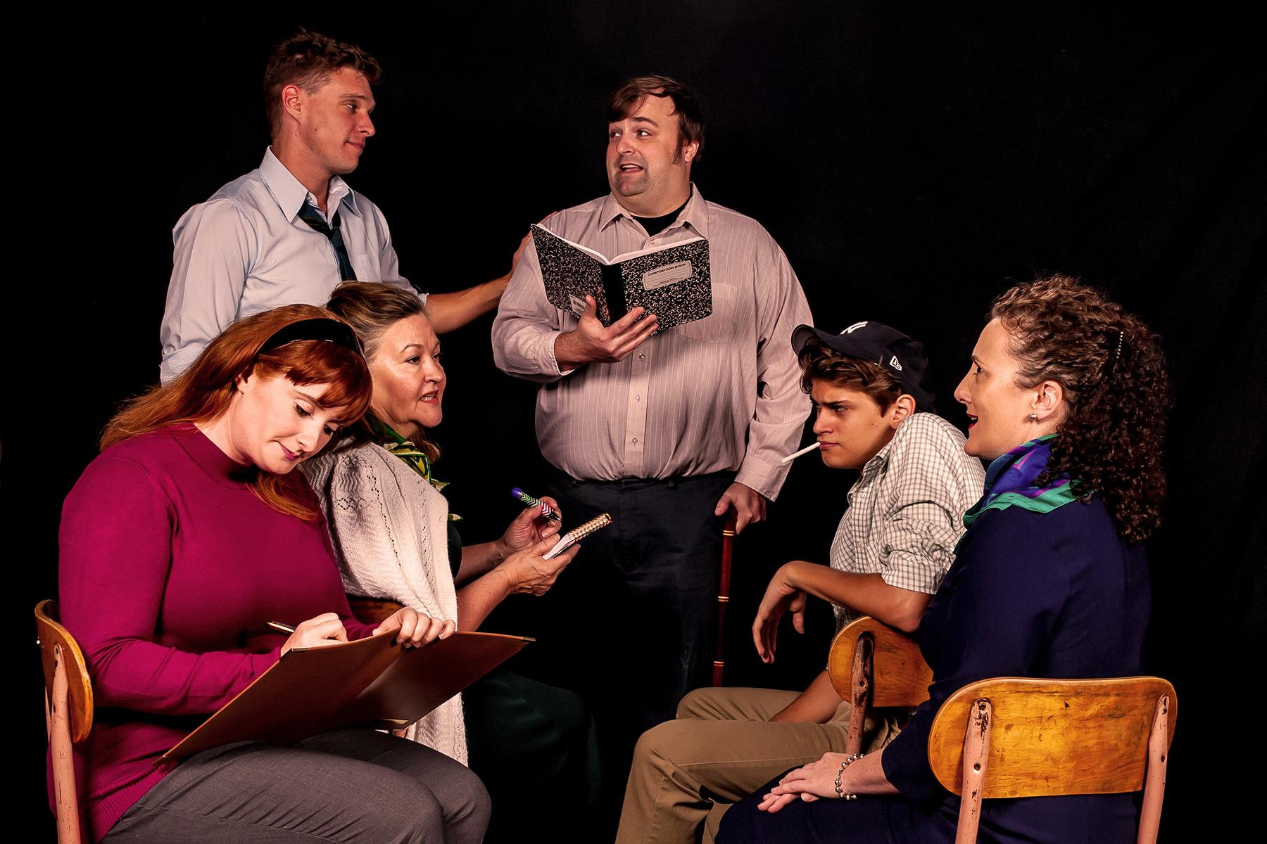 L to R: Robin Schwartz, Ron Giddings, Mary MacLeod, Jeff Sprague, Jack Leitess, and Alicia Sweeney in The Babylon Line, now playing at The Colonial Players of Annapolis. Photo by Colburn Images.