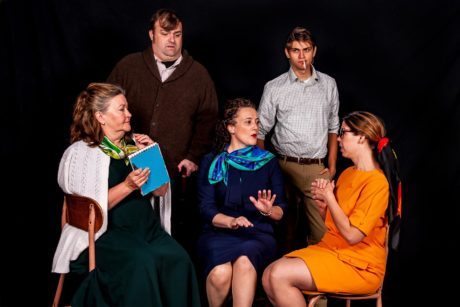 L to R: Mary MacLeod, Jeff Sprague, Alicia Sweeney, Jack Leitess, and Lindsey Miller in The Babylon Line, now playing at the Colonial Players of Annapolis. Photo by Colburn Images.