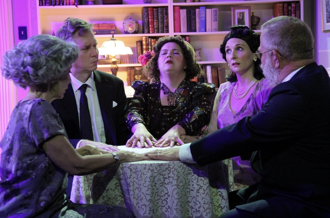 Liz Weber, Matt Bannister, Amy Hebb, Melissa Powell, and Bruce Pope in Blithe Spirit, now playing at Other Voices Theatre. Photo by Adam Blackstock.