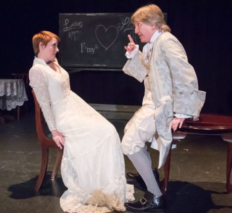 Heather Plank as Emilie and Bruce Alan Rauscher as Voltaire in Vienna Theatre Company's production of Emilie: La Marquise Du Chatelet Defends Her Life Tonight. Photo by John Sharrard.