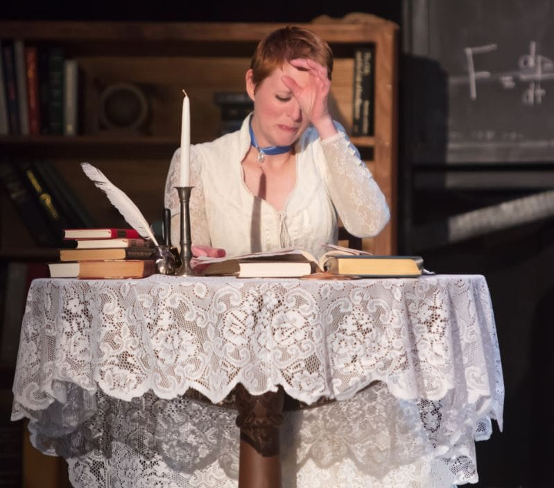 Heather Plank as Emilie in Vienna Theatre Company's production of Emilie: La Marquise Du Chatelet Defends Her Life Tonight. Photo by John Sharrard.