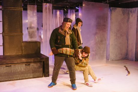 Brandon Richards (Johnny) and Sean Byrne (Micke) harass Jordan Champe (Oskar) in Let The Right One In, now playing at Maryland Ensemble Theatre. Photo by David Spence/Spence Photography.