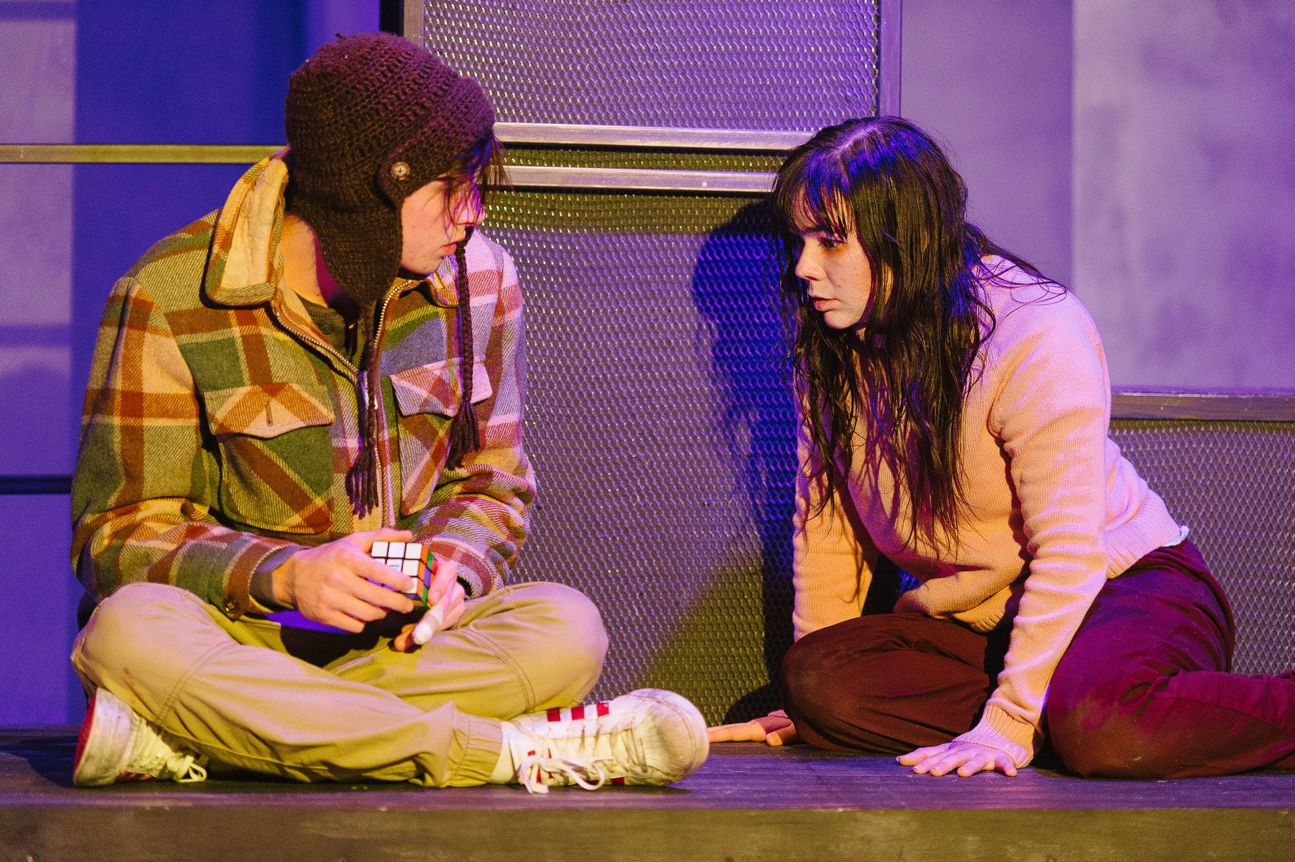 Jordan Champe (Oskar) and Karli Cole (Eli) in Let The Right One In, now playing at Maryland Ensemble Theatre. Photo by David Spence/Spence Photography.