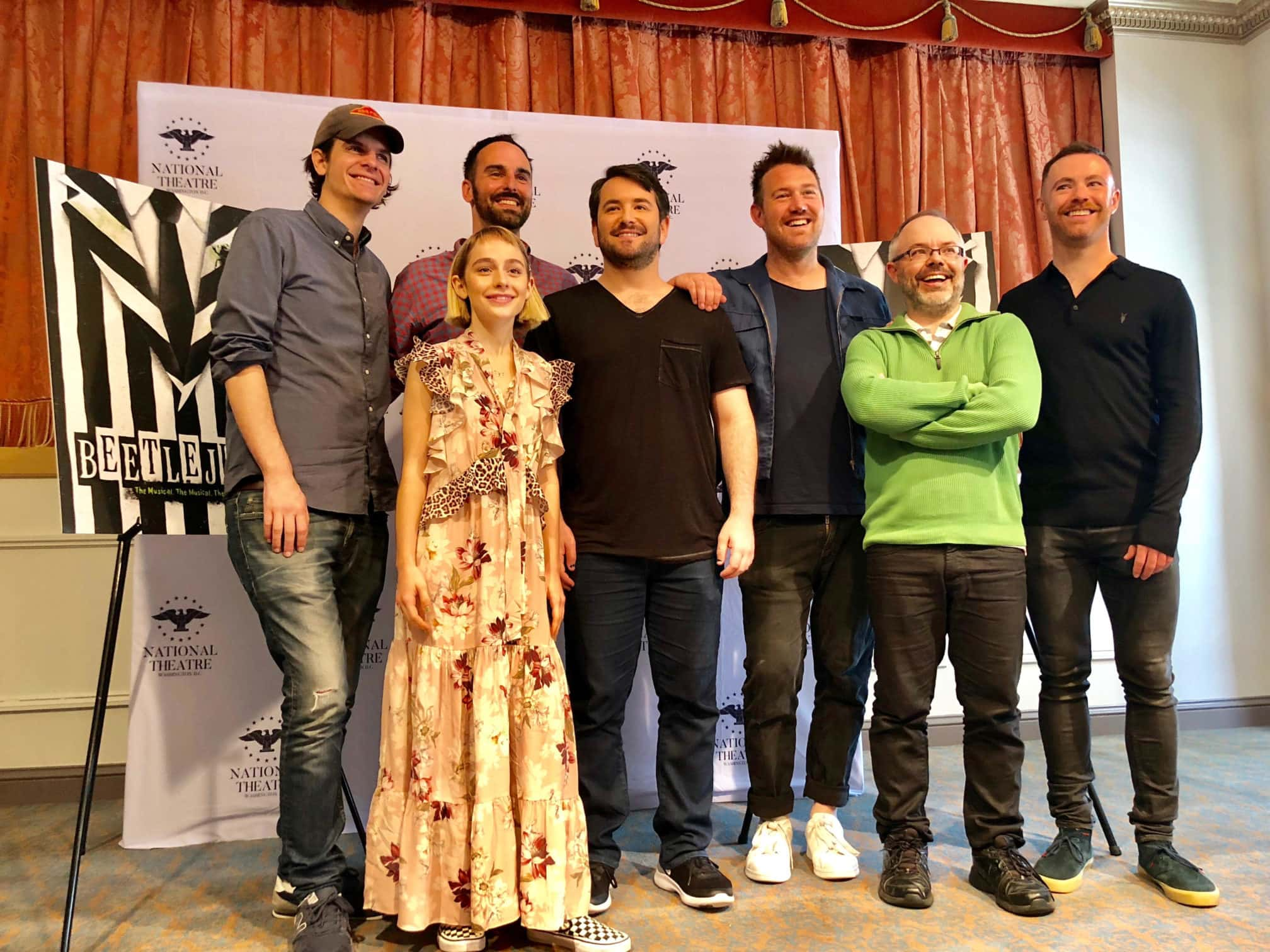 'Beetlejuice' creative team at the National Theatre: L-R Alex Timbers (Director), Sophia Anne Caruso (Lydia), Anthony King (book writer), Alex Brightman (Beetlejuice), Eddie Perfect (Composer and Lyricist), Scott Brown (book writer), Connor Gallagher. Photo by Nicole Hertvik.