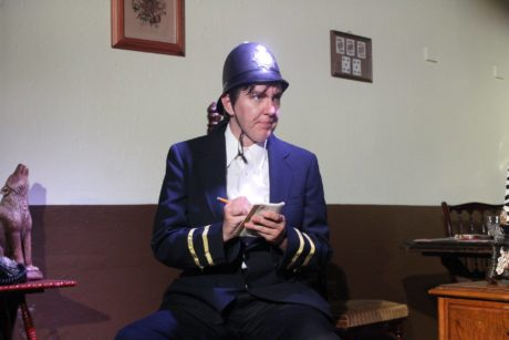 Jen Sizer as Constable Jones in Spider's Web, now playing at Laurel Mill Playhouse. Photo by Courtney Dotson.