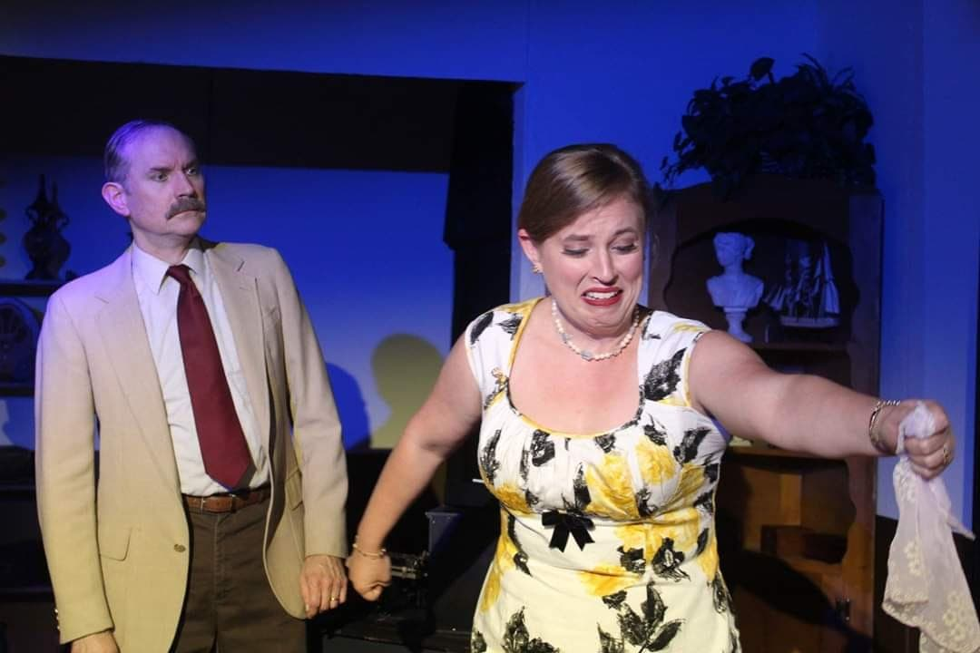 Steve Bruun and Sarah Robinson in Spider's Web, now playing at Laurel Mill Playhouse. Photo by Courtney Dotson.