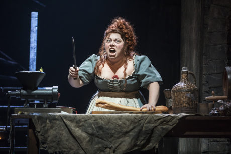 Allison Guinn as Madame Thenardier in Les Misérables at the Hippodrome Theatre. Photo by Matthew Murphy.