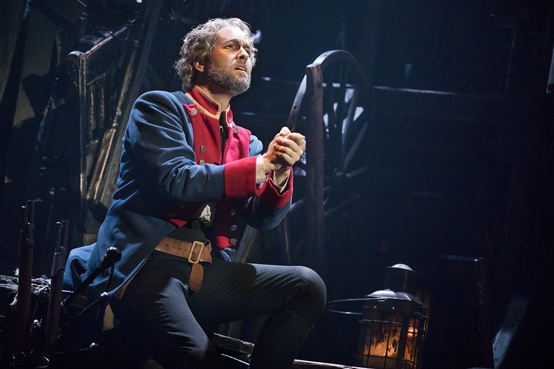 Nick Cartell as Jean Valjean in Les Misérables at the Hippodrome Theatre. Photo by Matthew Murphy.