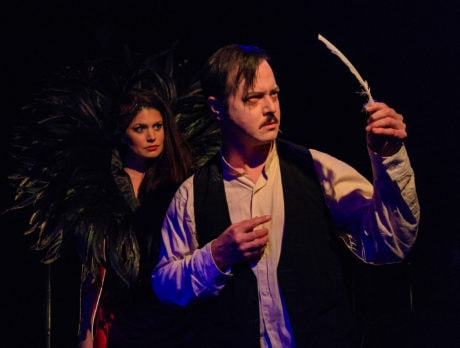 Mary Kate Brouillet as the Whore and Stephen Gregory Smith as Edgar Allan Poe in Nevermore. Photo Credit: Keith Waters/Kx Photography.