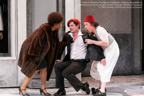 Eleasha Gamble (Courtesan), Gregory Wooddell (Antipholus of Syracuse), and Carson Elrod (Dromio of Syracuse) in The Comedy of Errors, now playing at the Shakespeare Theatre Company. Photo by Scott Suchman.