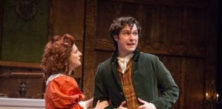 Lesley Malin and Elliott Kashner in She Stoops to Conquer, now playing at the Chesapeake Shakespeare Company. Photo by C. Stanley Photography.