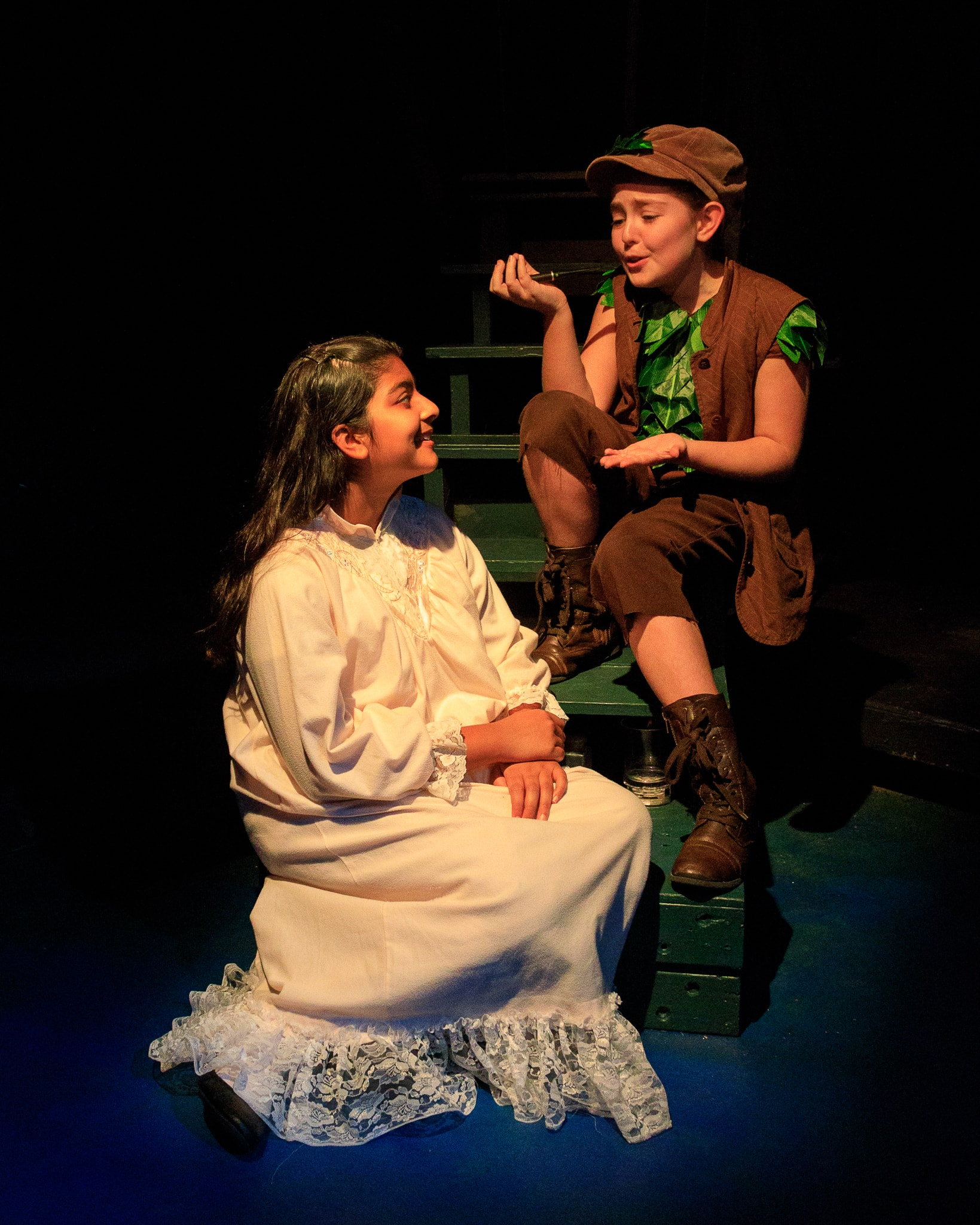 Aashna Kapur as Wendy and Gabriela Simmons Robles as Peter Pan. Photo Credit: Keith Waters/Kx Photography.