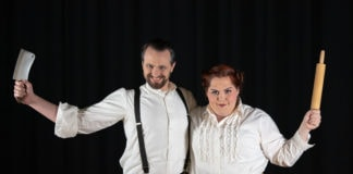 Dave Joria as Sweeney Todd and Elizabeth Drake as Mrs. Lovett in Sterling Playmakers' production of Sweeney Todd. Photo courtesy of Sterling Playmakers.