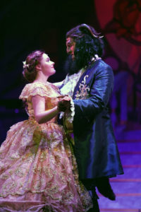Nicki Elledge as Belle and Wyn Delano as Beast. Photo courtesy of Riverside Center for the Performing Arts
