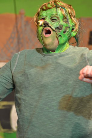 Matt Gray in the title role in The Toxic Avenger, now playing at Greenbelt Arts Center. Photo by Kristofer Northrup.