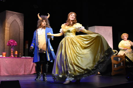 David A. Robinson (The Beast) and Bailey Wolf (Belle) in Beauty and the Beast, presented by Damascus Theatre Company. Photo by Elli Swink.