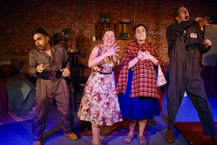 Steven Soto, Mary Myers, Francesca Marie Chilcote and Colin Connor in Dario Fo's 'Can't Pay, Won't Pay!' from Nu Sass Productions. Photo by Mara Sherman.
