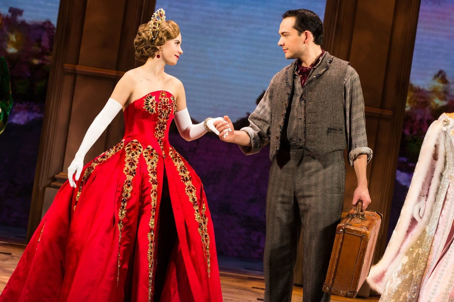 Lila Coogan (Anya) and Stephen Brower (Dmitry) in the national tour of 'Anastasia.' Photo by Evan Zimmerman.