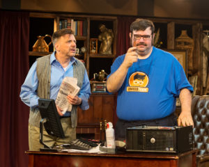 Mickey MacIntyre as Frank Merrick and Michael Abendshein as Josh Watson in The (curious case of the) Watson Intelligence. Photo by Harvey Levine.